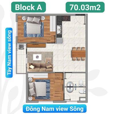 Chung cư 70m² 2PN - căn GÓC 2 view sông thoáng mát