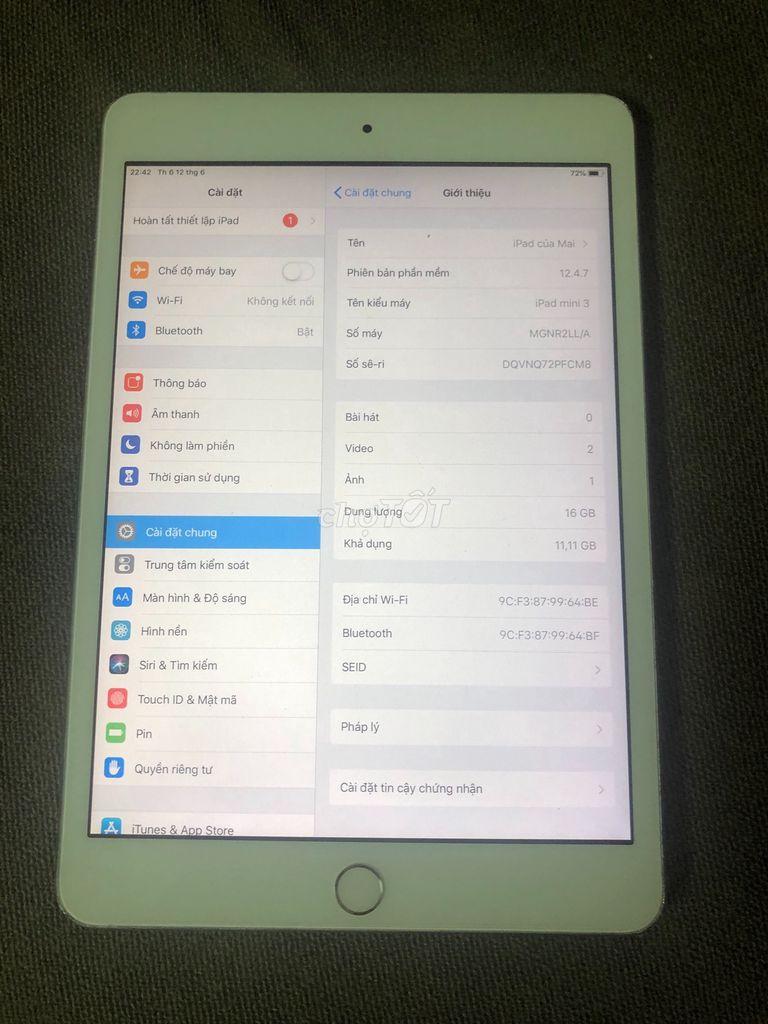 Apple iPad Mini 3 16 GB Wifi Gray Quốc tế Zin >96%