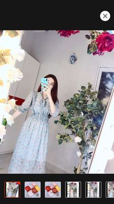 Đầm lụa hoa cúc