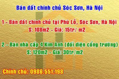 Bán đất chính chủ Sóc Sơn, Hà Nội