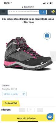 Giày leo núi cổ lửng Quechua Decathlon size 38