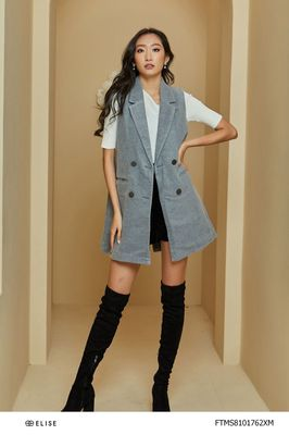 Áo dạ Elise dáng dài màu xám