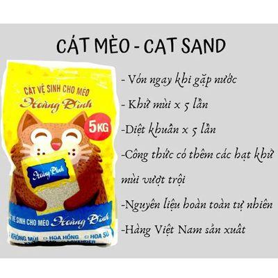 Cát mèo Hoàng Đinh bao 5kg đủ mùi
