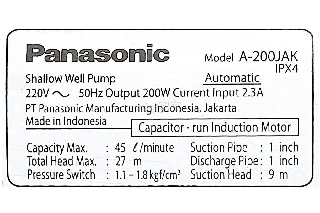 0353650010 - Máy bơm nước tăng áp Panasonic