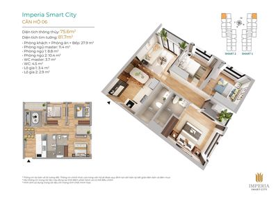 Chung cư imperia Smart City 75m² 3 PN