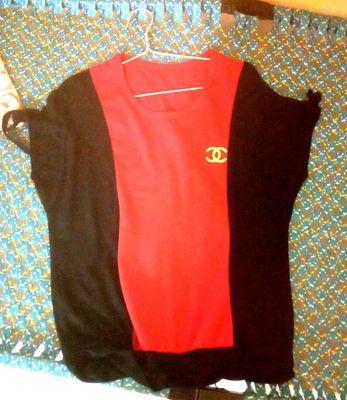 Áo thun có dây nữ màu đỏ đen size M