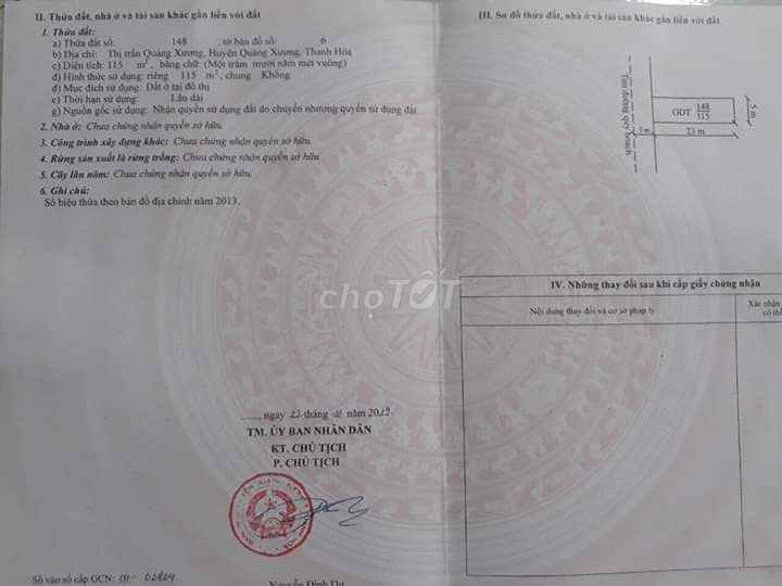 Đất đường  thanh niên thi trấn Huyện QXương 115m²