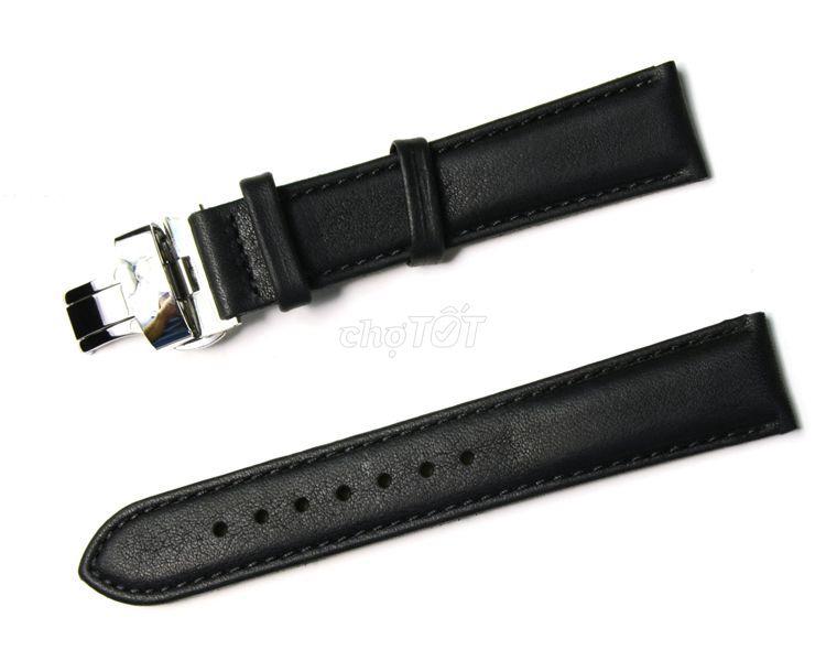 Dây đồng hồ da bò cao cấp khóa bướm inox 18mm 20mm