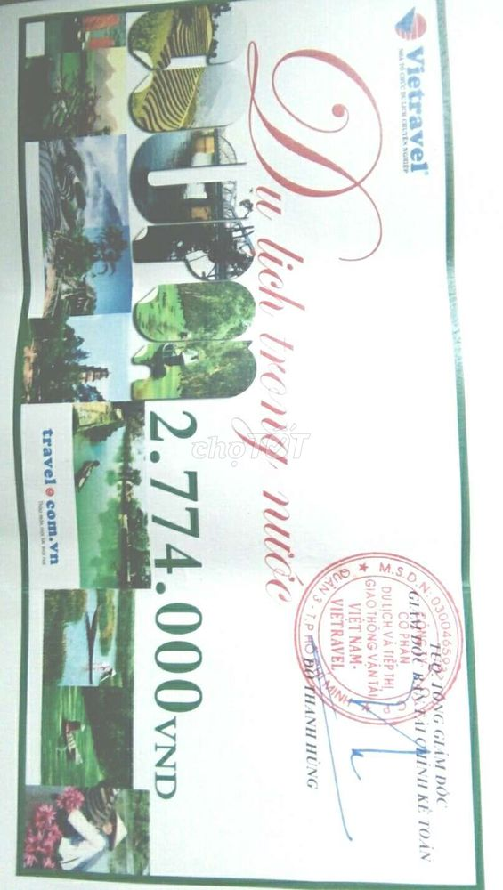 Bán 1 cặp coupon du lịch Vietravel