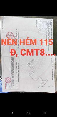 NỀN HẺM 115 Đ, CMT8, 2 MT TRƯỚC SAU