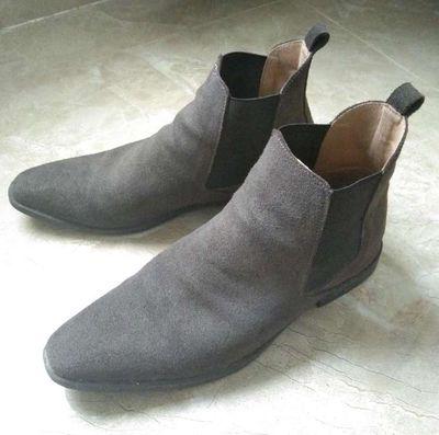 Giày chelsea boot nam da lộn, xám đen, size 43