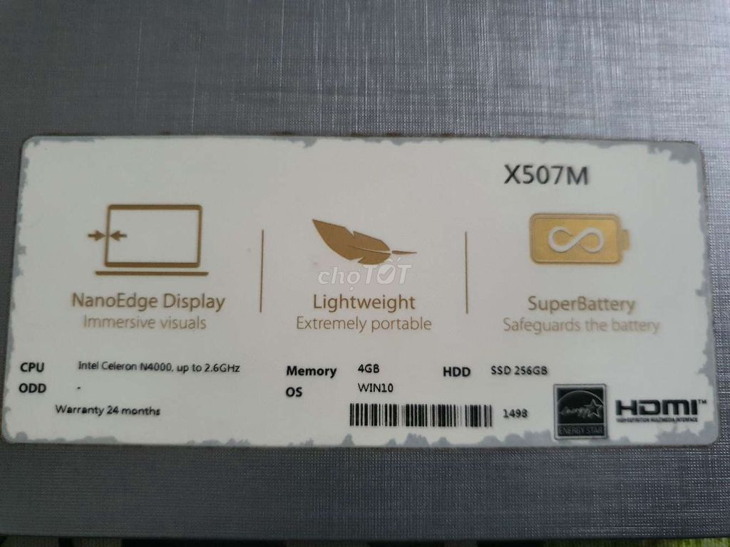 0935390080 - Laptop Asus VivoBook X507MA N4000/4GB/256GB/Win10