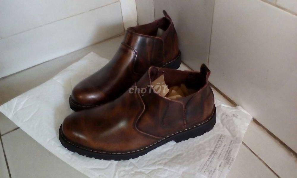 Giày Chelsea Boots đế cao da bò thật 100% siêu êm