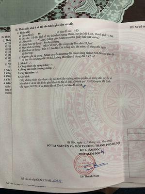 53m2 Tổ 10 TT Quang Minh. Giá đầu tư