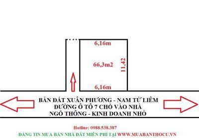 Bán đất phường Xuân phương 66m2 ngõ ô tô thông
