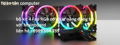 Quạt case màu RGB bộ 4 cái+Hub+Remote điều khiển