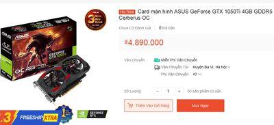 Card ASUS GTX 1050Ti 4GB BH 20 THÁNG,ĐỔI XÁC LK PC