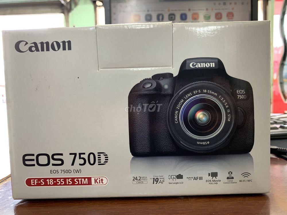 Canon 750D + kit 18-55 STM, fullbox b.hành 12/2020