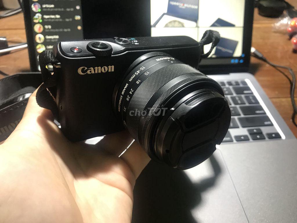 Canon M10 + kit 15-45 + 2 pin + thẻ nhớ