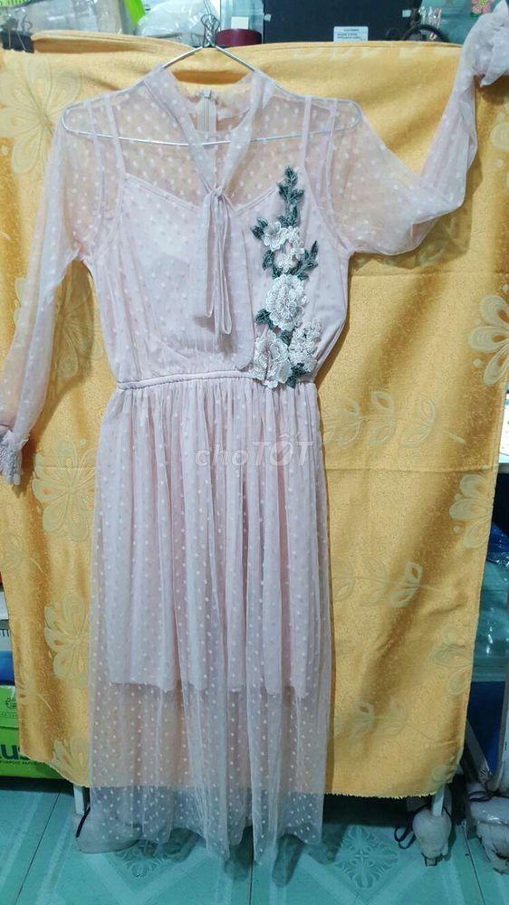 Đầm nude ren dài tay free size