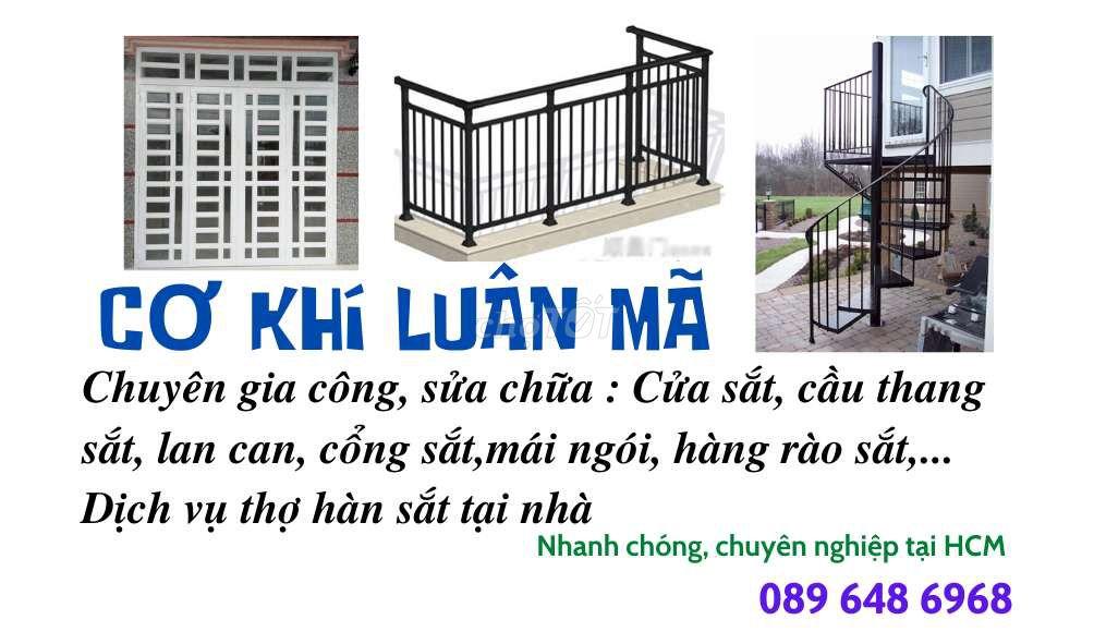 0932648203 - Làm cầu thang,mái hiên,lan can, cửa sắt,gác sắt