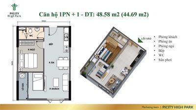 Căn Hộ PiCity High Park  1PN, Thu Net 50 triệu