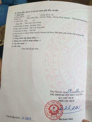 Bán lô chung cư Huê tại Hoa Động, Thuỷ Nguyên-