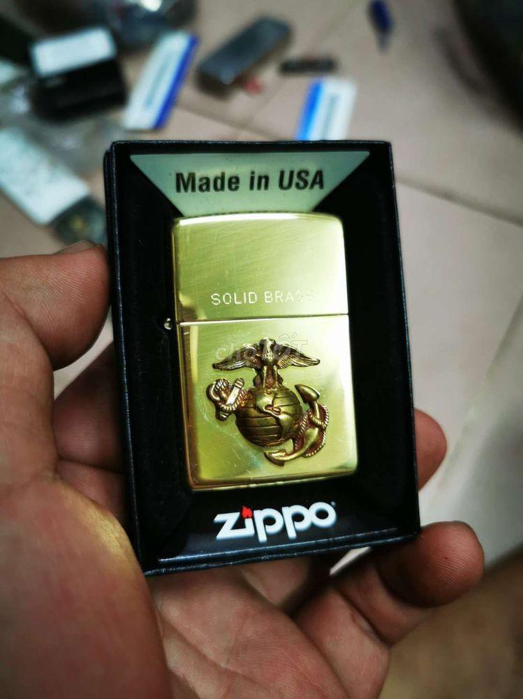 Zippo đồng thau đính logo Thủy Quân Lục Chiến