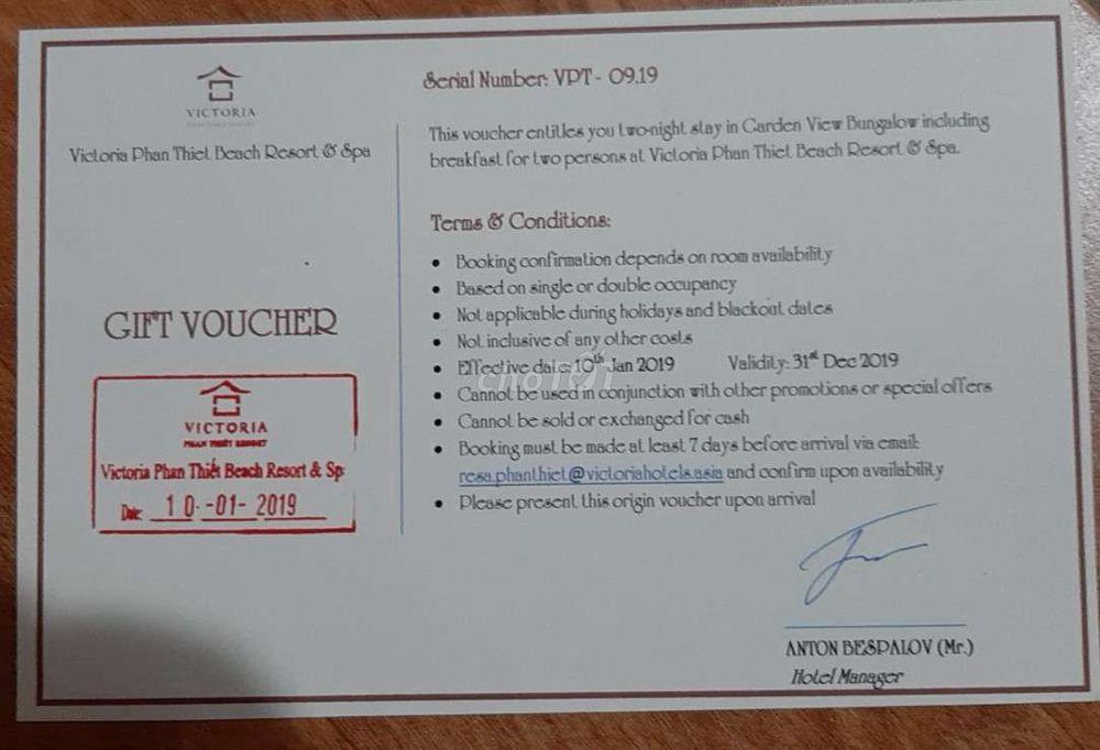 Victoria Phan Thiết beach resort and spa/ 2 đêm